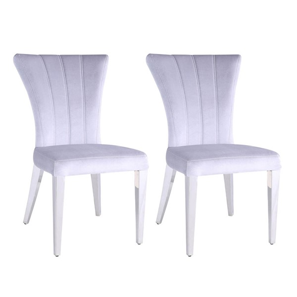 2 Chintaly Imports Emily Polished Gray Side Chairs CHF-EMILY-SC-GRY