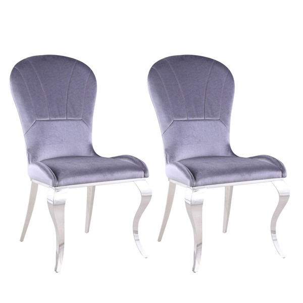 2 Chintaly Imports Erin Polished Gray Cabriolet Side Chairs CHF-ERIN-SC-GRY