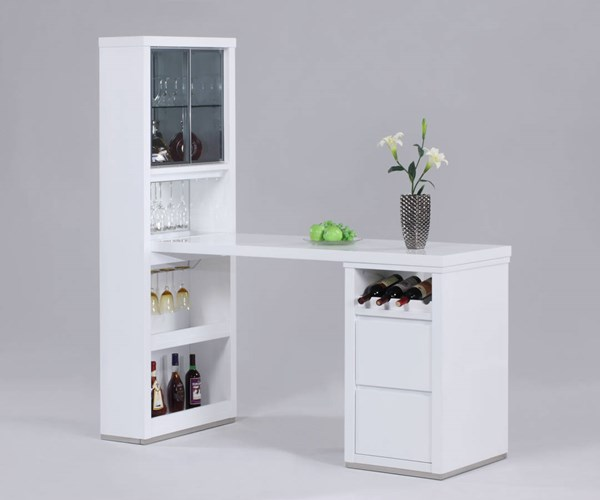 Essex White Grey Glass Bar Unit w/Counter Top Wine Rack & 4 Drawers CHF-ESSEX-BAR-T