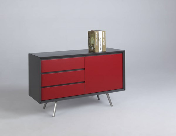 Esther Modern Grey Red Wood Buffet W/ Stainless Steel Legs CHF-ESTHER-BUF