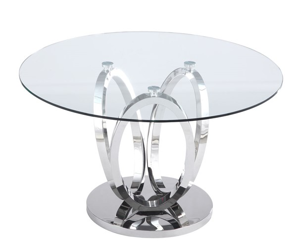 Chintaly Imports Evelyn Clear Steel Dining Table CHF-EVELYN-DT-POL