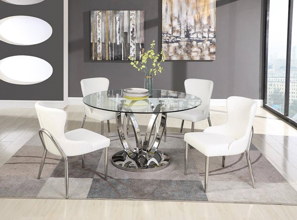 Chintaly Imports Evelyn White 5pc Dining Room Set CHF-EVELYN-5PC-POL