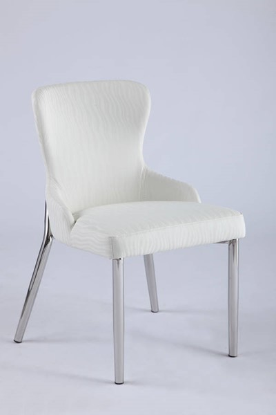2 Chintaly Imports Evelyn White Wing Back Side Polished Chairs CHF-EVELYN-SC-WHT-POL