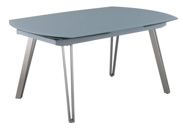 Chintaly Imports Evie Gloss Gray Motion Extendable Glass Top CHF-EVIE-DT-T