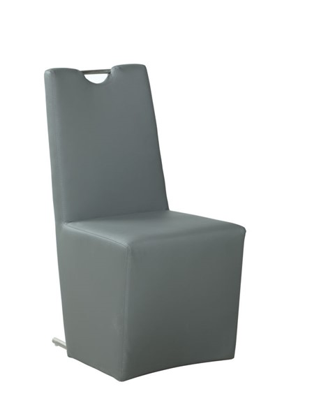 2 Chintaly Imports Evie Brushed Stainless Steel Gray Upholstered Side Chairs CHF-EVIE-SC-GRY-PU