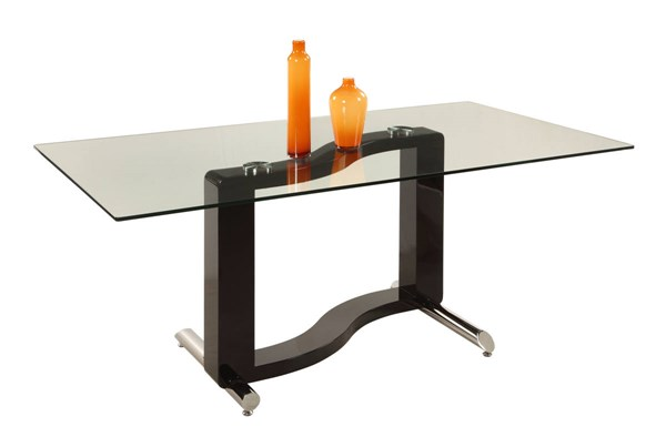 Fenya Black Glass Metal Wood Rectangle Dining Table CHF-FENYA-DT-TB