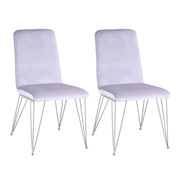 2 Chintaly Imports Fernanda Polished Gray Side Chairs CHF-FERNANDA-SC-GRY