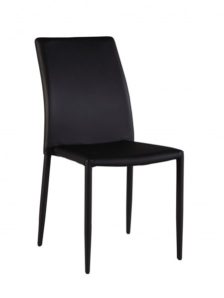 4 Fiona Black PU Fully Upholstered Stackable Side Chairs CHF-FIONA-SC-BLK