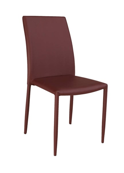 4 Fiona Burgundy PU Fully Upholstered Stackable Side Chairs CHF-FIONA-SC-BRG