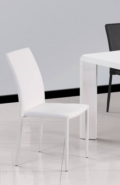 4 Fiona White PU Fully Upholstered Stackable Side Chairs CHF-FIONA-SC-WHT