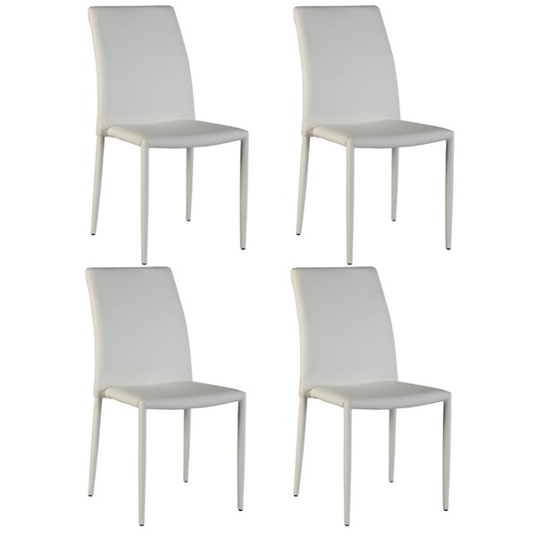 4 Chintaly Imports Fiona White Side Chairs CHF-FIONA-SC-WHT