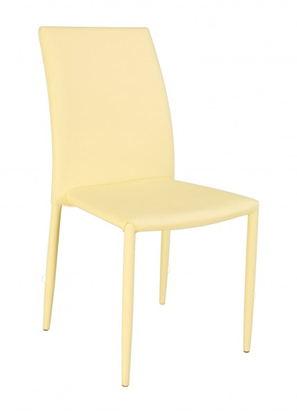 4 Fiona Yellow PU Fully Upholstered Stackable Side Chairs CHF-FIONA-SC-YLW