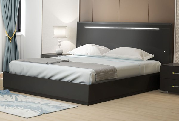 Chintaly Imports Florence Gloss Black Beds CHF-FLORENCE-BED-VER