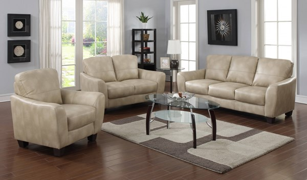 Fremont Modern Taupe Bonded Leather Club 3pc Living Room Set CHF-FREMONT-3PC