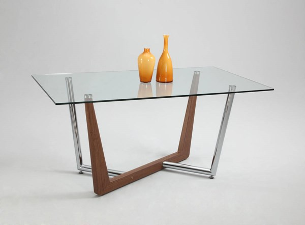 Flora Modern Walnut Rectangle Clear Glass Top CHF-FLORA-DT-T