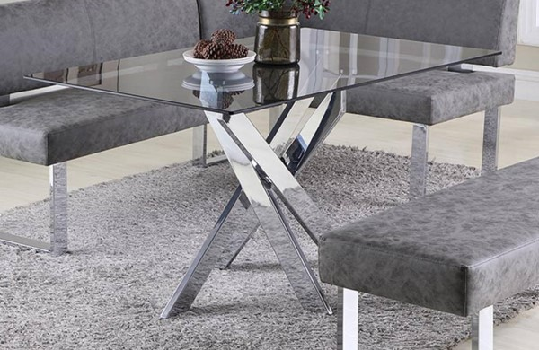 Chintaly Imports Genevieve Chrome Dining Table The