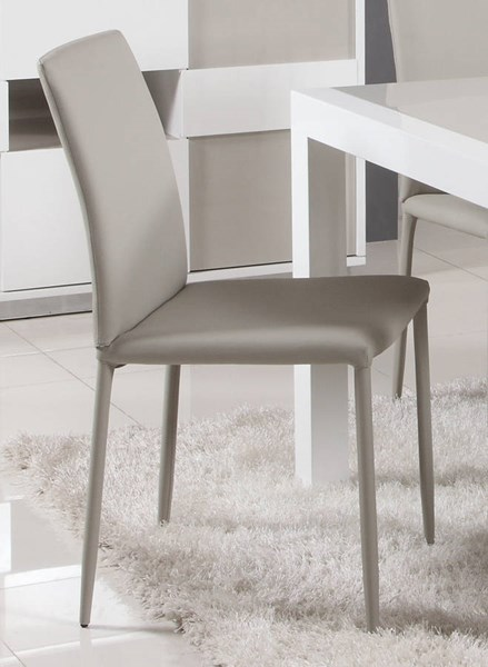 2 Gina Grey PU Fully Covered Tapered Leg Side Chairs CHF-GINA-SC