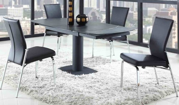Grace Black PU Glass 5pc Dining Room Complete Set W/Molly Side Chair CHF-GRACE-BLK-MOLLY-BLK