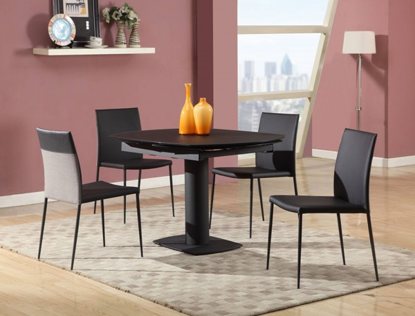 Grace Glass PU 5pc Dining Room Set w/Black Chair CHF-GRACE-DR-S1