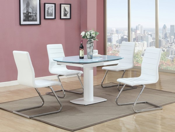 Grace White Glass PU 5pc Dining Room Set w/Tempered Glass Table CHF-GRACE-DR-S3