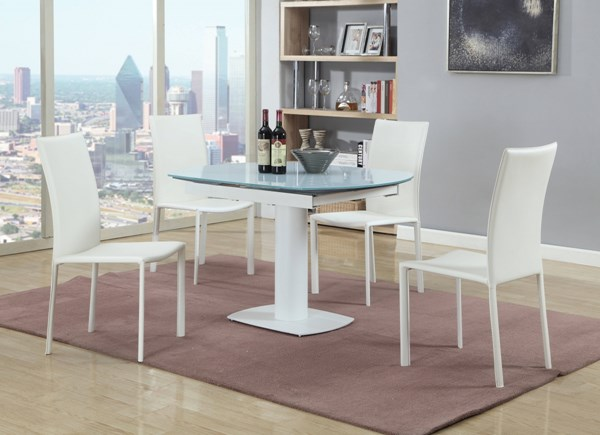 Grace Glass PU 5pc Dining Room Set w/White Chair CHF-GRACE-DR-S2