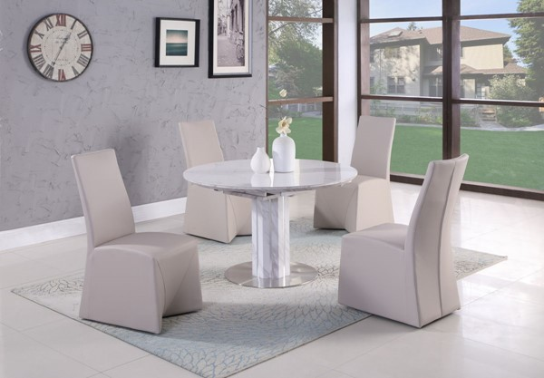 Chintaly Imports Gretchen White Light Grey 5pc Dining Room Set CHF-GRETCHEN-JANNA-DR-S1