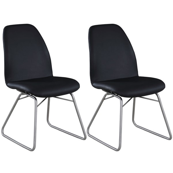 2 Chintaly Imports Gretchen Brushed Black Curved Back Side Chairs CHF-GRETCHEN-SC-BLK