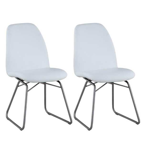 2 Chintaly Imports Gretchen Brushed White Curved Back Side Chairs CHF-GRETCHEN-SC-WHT