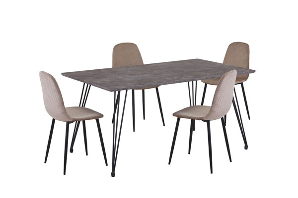 Chintaly Imports Heather Brown Black Taupe 5pc Dining Room Set CHF-HEATHER-5PC