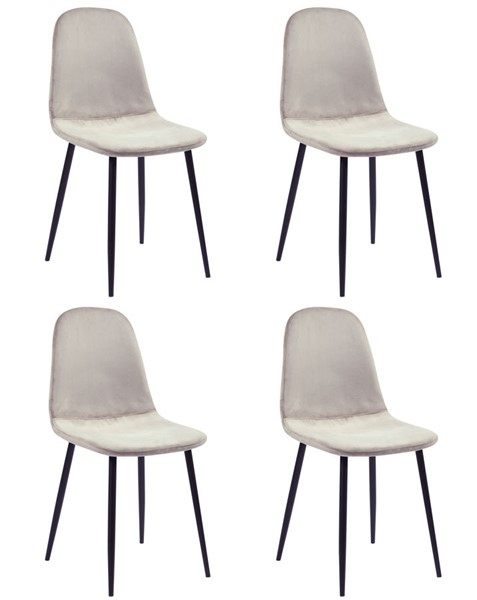 4 Chintaly Imports Heather Black Taupe Side Chairs CHF-HEATHER-SC-TPE