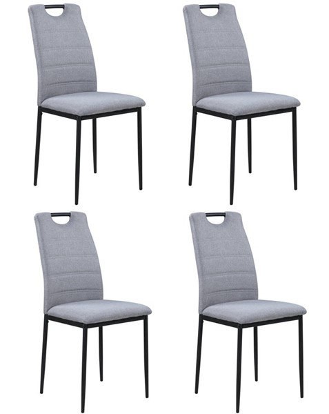 4 Chintaly Imports Helga Matte Black Gray Handle-Back Side Chair CHF-HELGA-SC-GRY