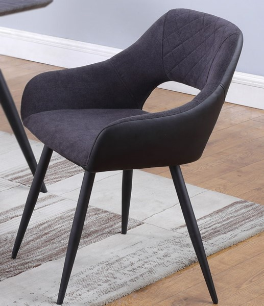 2 Chintaly Imports Henriet Matte Black Open Back Gray Side Chairs CHF-HENRIET-SC-GRY