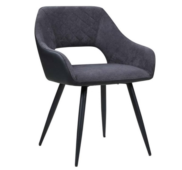 2 Chintaly Imports Henriet Matte Black Gray Side Chairs CHF-HENRIET-SC-GRY