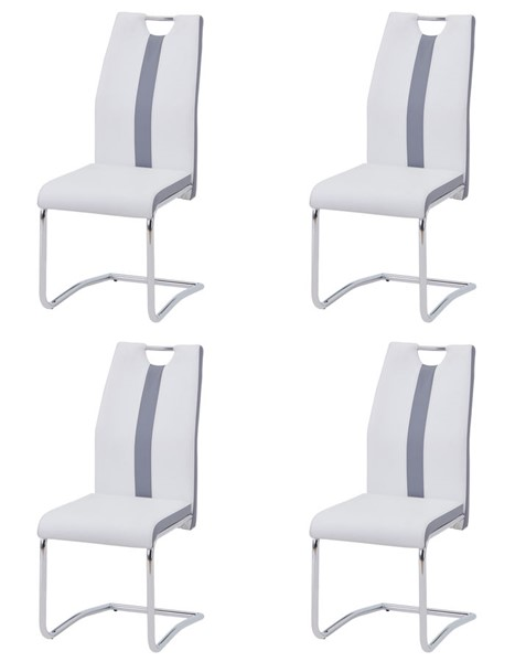4 Chintaly Imports Hope Chrome Gray White Side Chairs CHF-HOPE-SC-2TONE