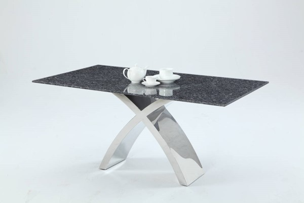 Ingrid Black Blue Granite Silver PU X Base Dining Set CHF-INGRID-DR