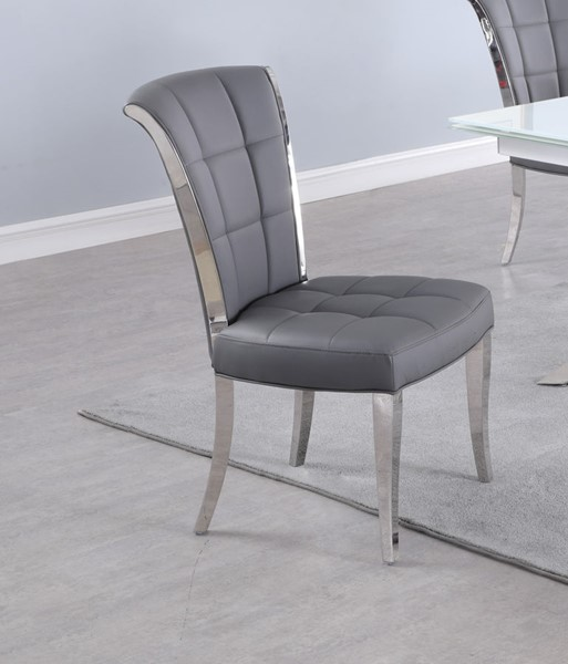 Chintaly Imports Iris Polished Stainless Steel Tufted Side Chairs CHF-IRIS-SC-VAR
