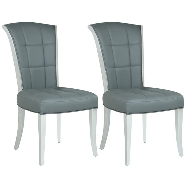 2 Chintaly Imports Iris Polished Stainless Steel Gray Tufted Side Chairs CHF-IRIS-SC-GRY
