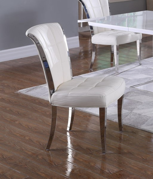 2 Chintaly Imports Iris Polished Stainless Steel White Tufted Side Chairs CHF-IRIS-SC-WHT