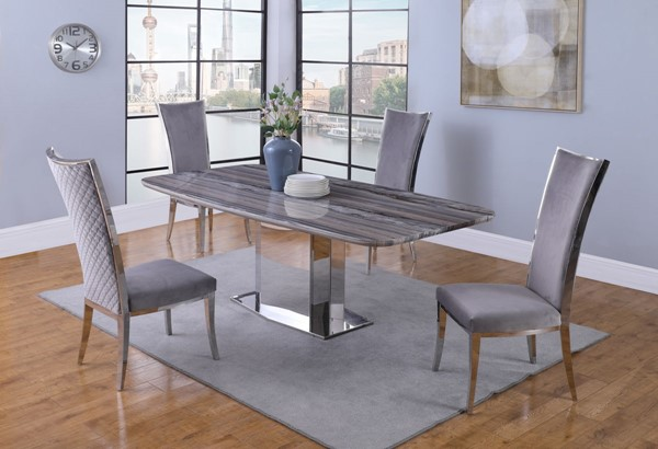Chintaly Imports Isabel Polished Stainless Steel Gray 5pc Dining Room Set CHF-ISABEL-5PC