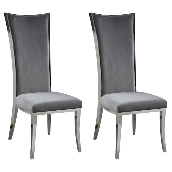 2 Chintaly Imports Isabel Polished Gray Upholstered Dining Chairs CHF-ISABEL-SC-GRY-POL