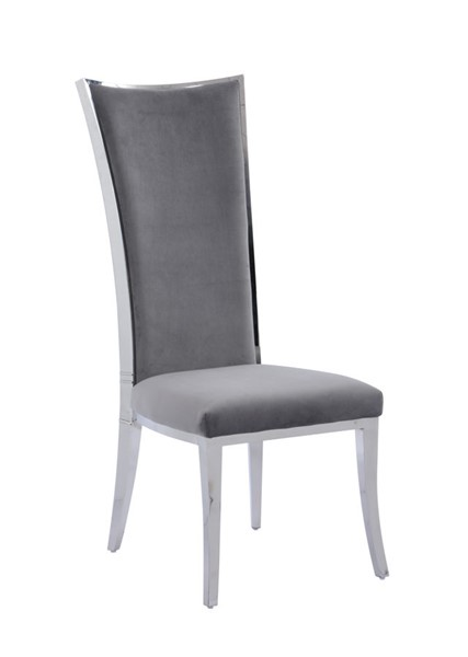 2 Chintaly Imports Isabel Polished Stainless Steel High Back Upholstered Chairs CHF-ISABEL-SC-GRY-POL