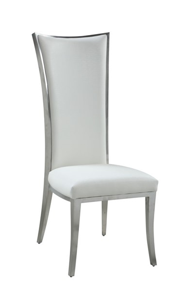2 Chintaly Imports Isabel Brushed Stainless Steel High Back Upholstered Chairs CHF-ISABEL-SC-WHT-BSH