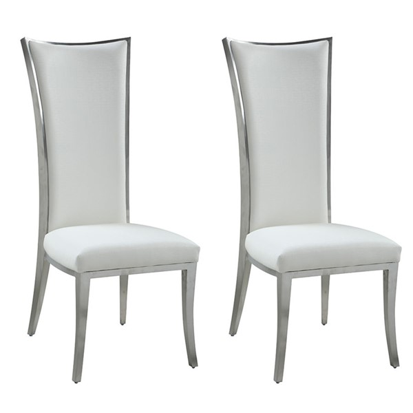 2 Chintaly Imports Isabel Brushed White High Back Dining Chairs CHF-ISABEL-SC-WHT-BSH