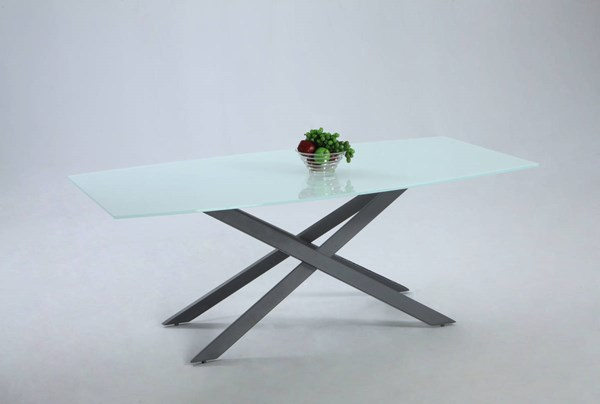 Jackie Modern Glass Metal Black X Shaped Dining Table CHF-JACKIE-DT