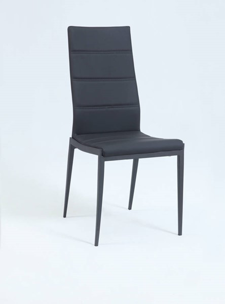 Jackie Modern PU Metal Black Stitched-Back Side Chair CHF-JACKIE-SC-BLK