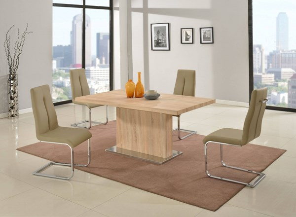 Jacquelin Light Oak Taupe PU Dining Room Set CHF-JACQUELIN-DR