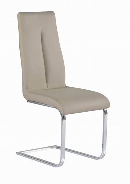 2 Jacquelin Taupe PU Cantilever Chairs w/Back Handle CHF-JACQUELIN-SC-TPE