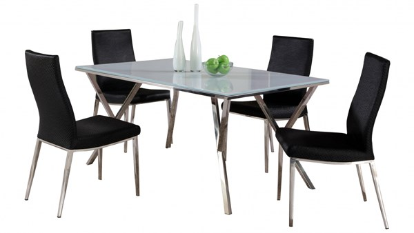 Jade White Glass Stainless Steel PU 5pc Dining Room Set w/Black Chair CHF-JADE-DT-S1