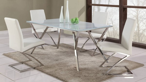 Jade White Glass Stainless Steel PU 5pc Dining Room Sets CHF-JADE-DR-VAR