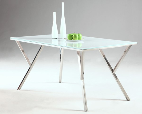 Jade Modern White Glass Stainless Steel Dining Table CHF-JADE-DT-TB